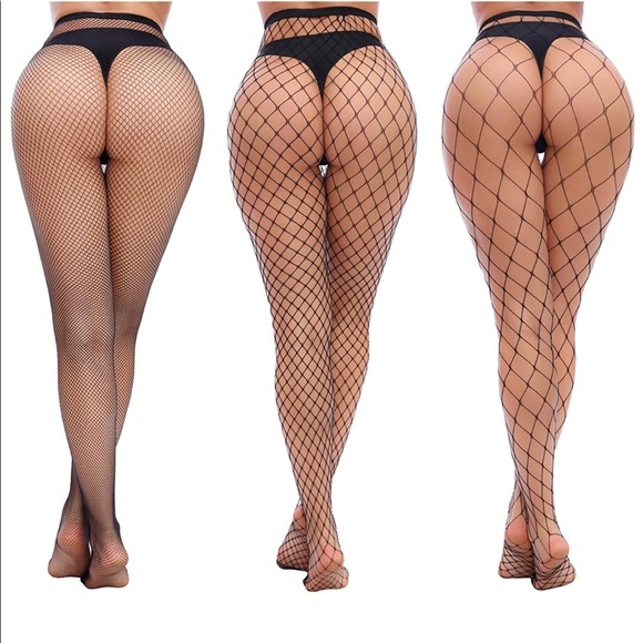 3 Pack High Waist Tights Fishnet Pantyhose
